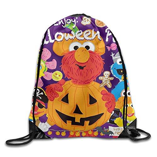 [Drawstring Backpack Sack Bag Sesame Street Lets Enjoy Halloween Party Nylon Home Travel Sport] (Terrorist Costumes)