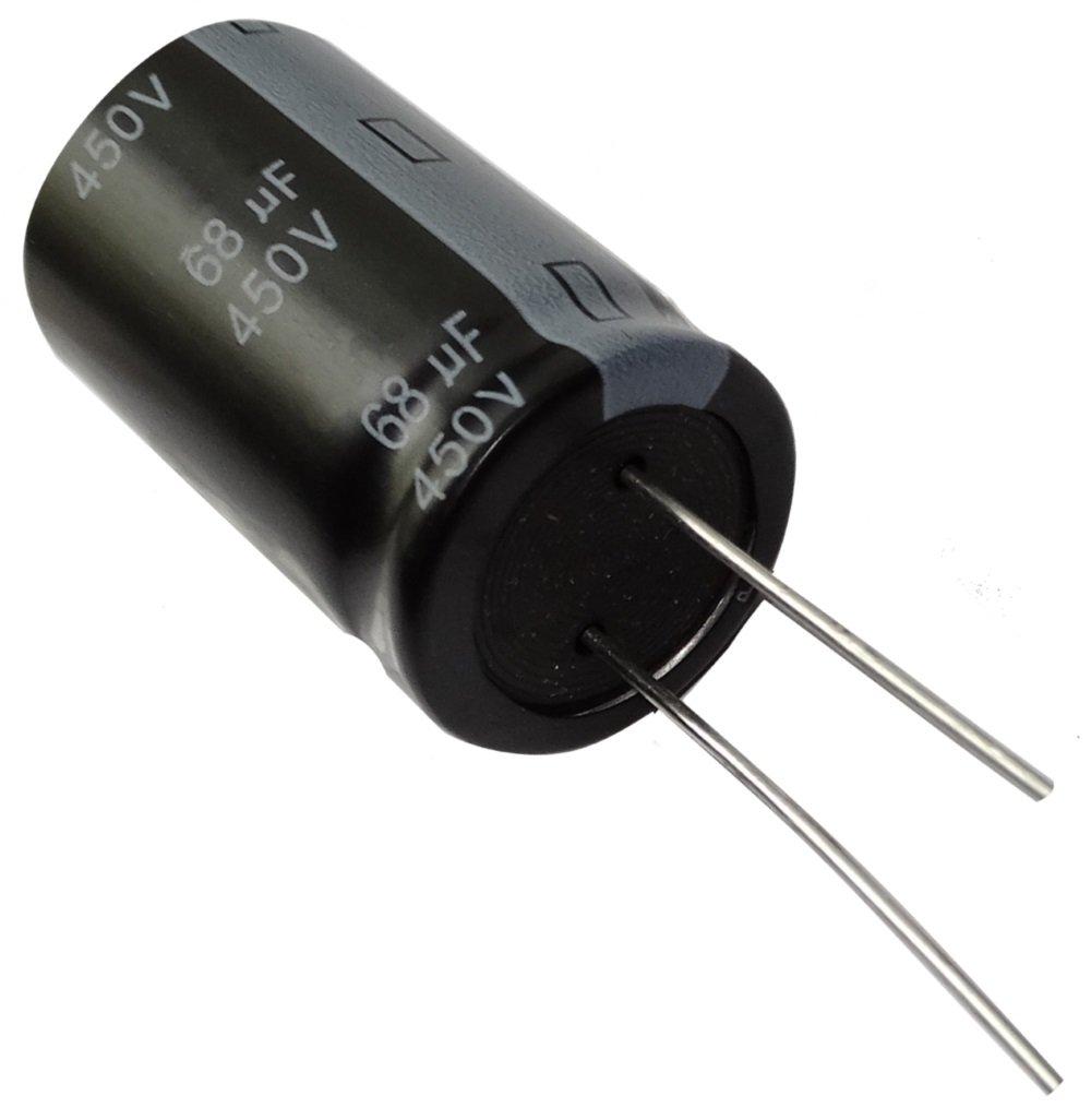 Aerzetix: 2x Condensateur électrolytique chimique 68µF ± 20% 450V THT 105°C 10000h Ø18x31,5mm radial