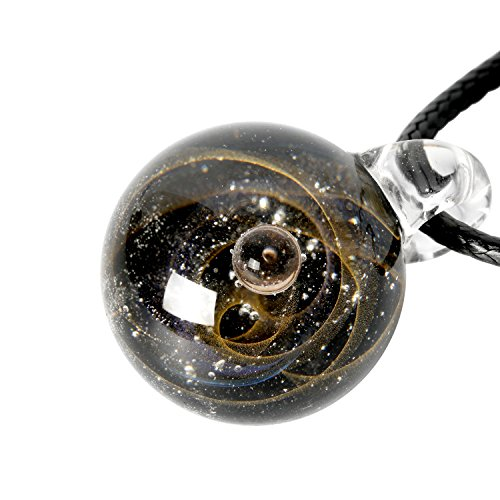 9PIG Natural Glass Pendant Necklace Jewelry, Unique Special Gift, Series Nebula Ribbon 1-Planet - Black