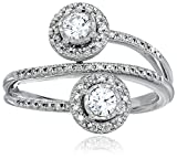10k White Gold Diamond Two-Stone Engagement Ring (1/2cttw, H-I Color, I2 Clarity), Size 7