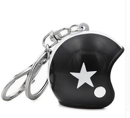 Gran llavero joyas de bolsa casco Moto negro y blanco estrella.