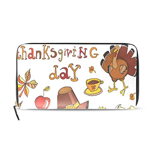 Icon Zip Around Wallet - Top Capenter Women's Thanksgiving Day Icon Set Zip-Around Clutch Wallet Organizer - 3.94x7.88 in Premium PU - Multi-Function Case for Money Credit Card Coin Cell Phone
