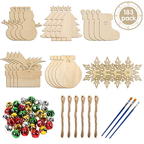 60 Pieces Unfinished Christmas Wooden Ornaments Craft Wood Slices with 100pcs Bells 3pcs Pens 50pcs Twines for DIY Crafts Christmas Hanging Decorations, 6 Shapes