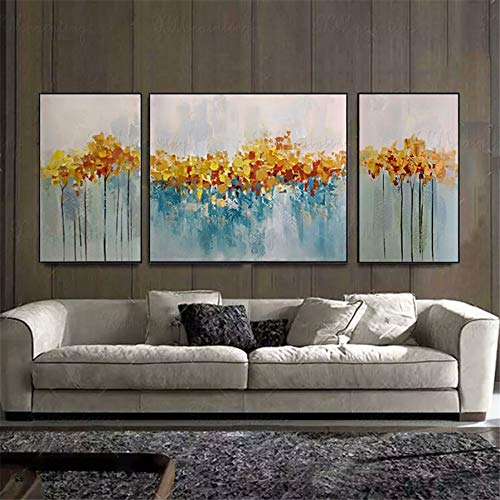 (3 Pieces Original Acrylic Gold Abstract Painting on Canvas Wall Art Pictures for Living Room Home Wall Decor Gold Lines Texture Quadro Decor 5070cm3pcs No Frame )