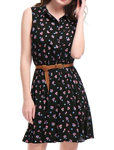 Allegra K Women's Floral Prints Sleeveless Belted Shirt Dress S Black