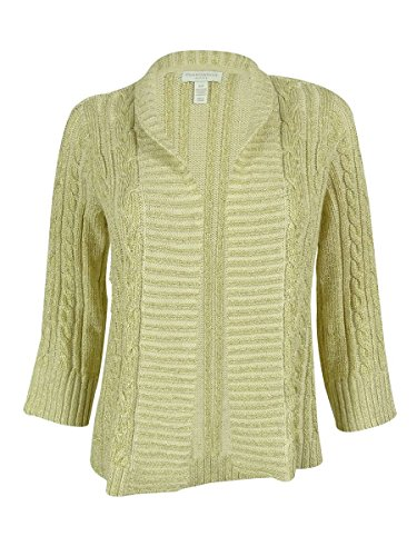 - Charter Club Petite Cable-Knit Metallic Open-Front Cardigan P/S Sweet Cream