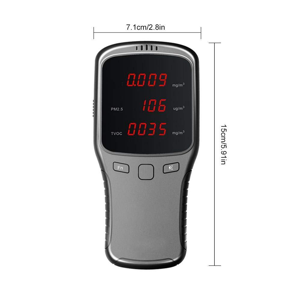 BEENZY Moniteur de qualit/é de lair Int/érieur formald/éhyde D/étecteur de Pm2.5//PM10//Tvoc testeur de Tests pr/écis avec Affichage de lheure pour la Maison de Voiture en Plein air d/étecter Hcho