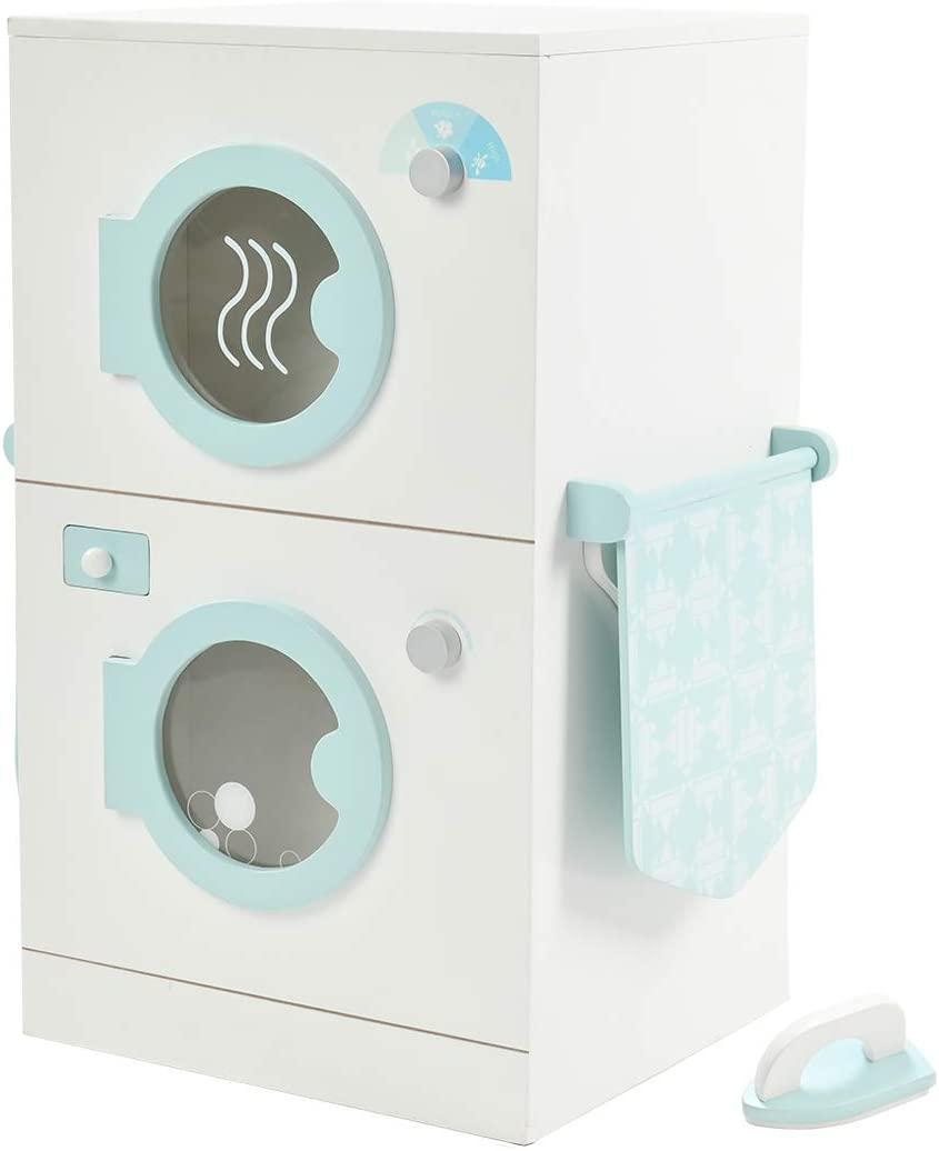 Laundry Playset Children's Pretend Wooden Stacking Washer and Dryer Toy Kitchen Playsets-Light Blue Doll Furniture for 1-3 Years Toddler Girls Boys