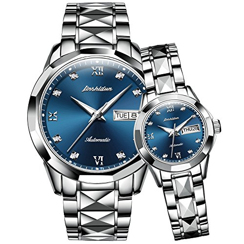JSDUN His & Hers 8813 Tungsten Steel Two-Tone Automatic Watch Couple Wrist Watches Gift Set