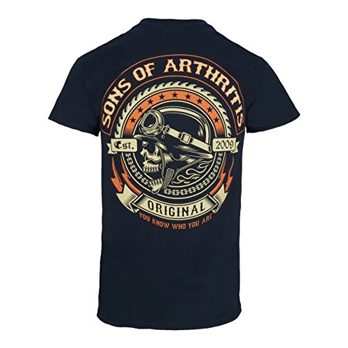 New Mens Biker T-shirt - Sons of Arthritis Mens Screamer Black Biker T-Shirt Medium Black