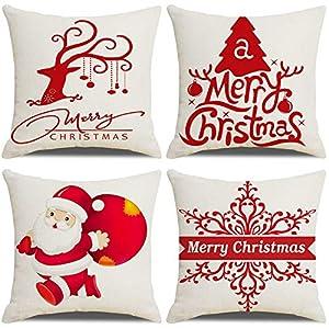 LAXEUYO Housse De Coussin Noël, Lot de 4 Père Noël Wapiti Flocon de Neige Coton et Lin Décoratif Taie d'oreiller 45 x 45…