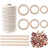 KUUQA 109 Yadrs 3mm Natural Macrame Cord with 60 pcs Wood Beads 6pcs Wood Ring and 4pcs Wooden Stick for Crafts,DIY Plant Hangers