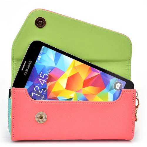 NuVur All in One Universal Wallet Clutch Smartphone Case Fits Apple iPhone 6, 6s, 7, 8 Coral/Mint