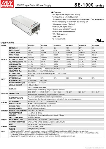 [PowerNex] Mean Well SE-1000-24 24V 41.7A 1000W Single Output Power Supply by Mean Well (Image #1)
