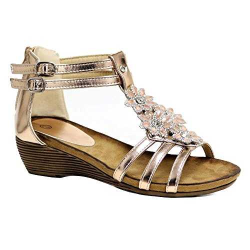 Impressionz Womens Ladies mid Heel Footbed Wedge Sandals New Gladiator Diamante Summer Dress Evening Strappy Sandals Shoes Size 3-8 Rose Gold q4ZsbH