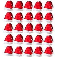 Evisha 25 pcs Merry Christmas Santa Claus Caps X-Mass Tree Decoration