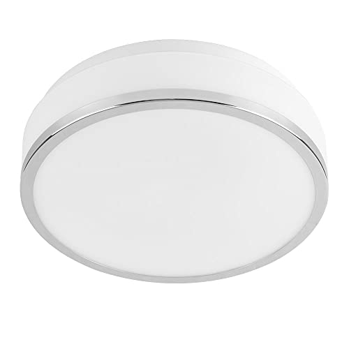 Modern Polished Chrome And Frosted Opal White IP44 Rated Flush Round Disc  Ceiling Bathroom Light Fitting