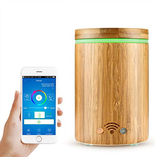 ALLOMN 160ml Cool Mist Humidifier Aroma Essential Oil Diffuser Compatible with Alexa, APP Remote Control, 8 Timer Settings, Auto Shut Off and 7 Color LED Changing for Home Office Yoga Spa-Wood Grain