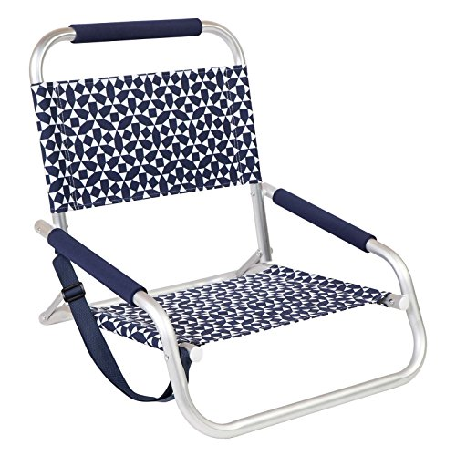 Ostrich Deluxe (Sunnylife Small Beach Folding Chair for Lounging in the Sand Perfect for Kids and Great for Adults - Andaman Blue And White)