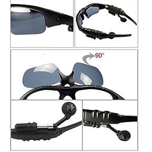 RioRand Wireless Bluetooth Sunglasses Headset Headphones For iPhone Samsung HTC Nokia (Black)