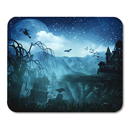 Emvency Mouse Pads Green Spooky Abstract Halloween Forest Scene Tree Spider Gothic Mouse pad 9.5