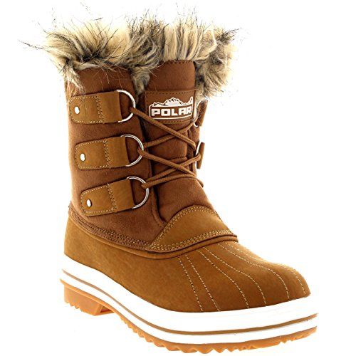Womens Fur Cuff Lace Up Rubber Sole Short Winter Snow Rain Shoe Boots - 7 - TAS38 YC0083