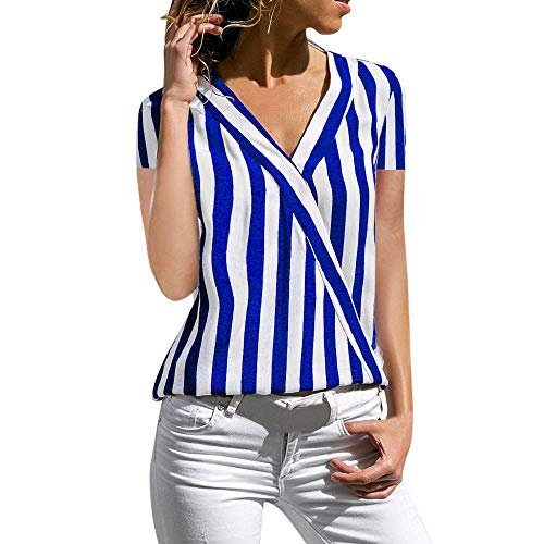 (Toimothcn Women Casual Short Sleeve V Neck Striped Printed Pocket Tops Button Down Shirt Blouse (Dark Blue,L))