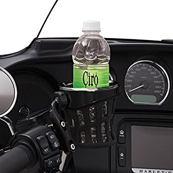 Ciro Black Rubber Drink Holder for Harley - Black Perch Mount (Right or Left) 50611