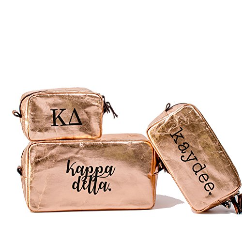 A-List Greek Cosmetic Bag Kappa Delta Sorority Travel Set of 3 - Black Greeks Letter Design | Ideal to store Makeup, Jewelry & Other Accessories - Perfect Gift for any Sorority Girl -