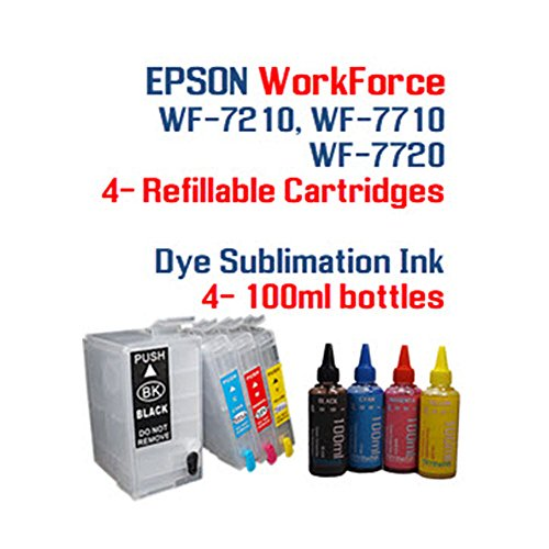 4 Reset Chips (Dye Sublimation Ink - Refillable ink cartridge package - 4 multi-color bottles 100ml each color - 4 Refillable ink cartridges auto reset chips installed - Epson WorkForce WF-7210 WF-7710 WF-7720)