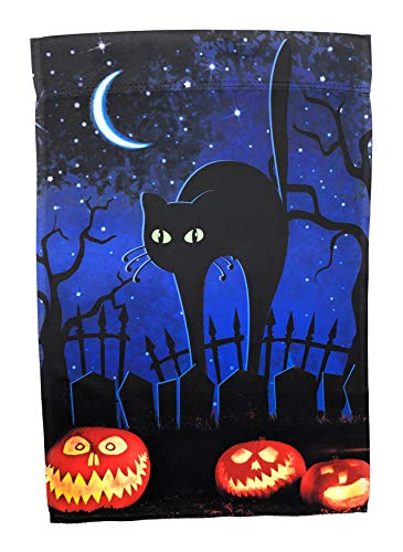 Cute Black Cat with Jack-o'-Lanterns Garden Flag; Halloween Decoration; Double Sided Seasonal Decorative Banner; 12.5 x 18 ()