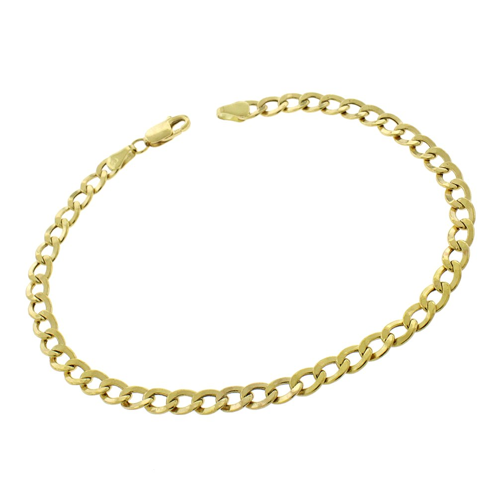 10k Yellow Gold 4.5mm Hollow Cuban Curb Link Bracelet Chain 8'', 8.5'' (8)