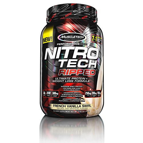 MuscleTech Nitro Tech Ripped Whey Protein Isolate Weight Loss Formula, French Vanilla Swirl, 2 Pounds (Formula Advanced Weight Loss)