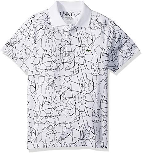 Lacoste Big Boy Sport Short Sleeve All Over Print Djoko Polo, White/Black, 12 -