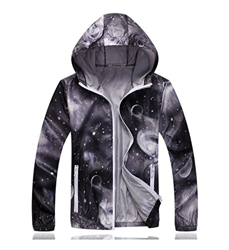 Unisex Anti UV Water Resistant Quick Dry Ultra Thin Colorful Skin Windbreaker Breathable Hooded Jackets Gray Small