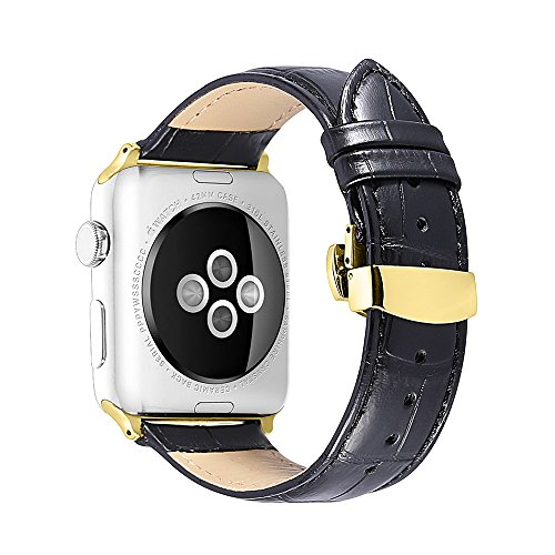 - iStrap 22mm Cow Leather Watch Band Alligator Grain Padded Replacement Gold Deployment Clasp Strap for Apple Watch iWatch 38mm Black