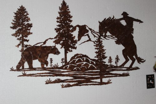 "Cowboy on Startled Horse with Bear Mountain Scene Large Metal Wall Art Home Decor 46""W X 27\""T"