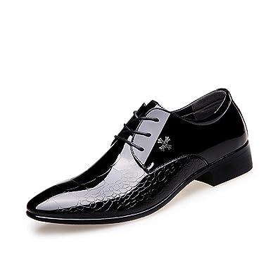Hommes Chaussures PU Printemps Automne Formelle Chaussures Oxfords Lace-up pour Bureau & Carrière Party & Soirée Blanc Noir Vert (Color : A, Taille : 40)