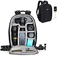 Professional DSLR Camera Backpack Bag with USB Charging Port and Rain Cover for Sony Canon Nikon Olympus Lens Tripod and Accessories