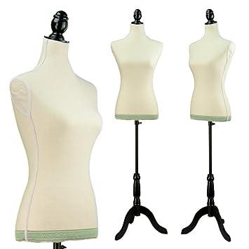 Amazon.com: Female White Linen-like fabric Mannequin Dress Form ...