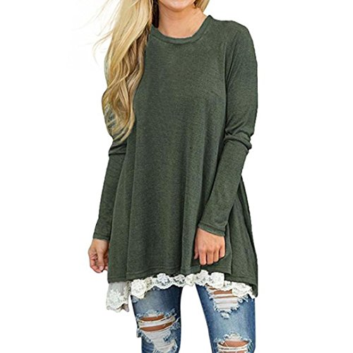 Sleeves Sash Cotton (Christmas Dress,Kstare Womens Ladies Casual Lace Long Sleeve Shirt Pullover Tops Blouse T-shirt (Green, XL))