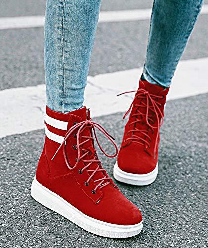À Femme Randonnée Fermeture Confortable Rayures Rouge Lacets Bottine Aisun w1qI7pgI
