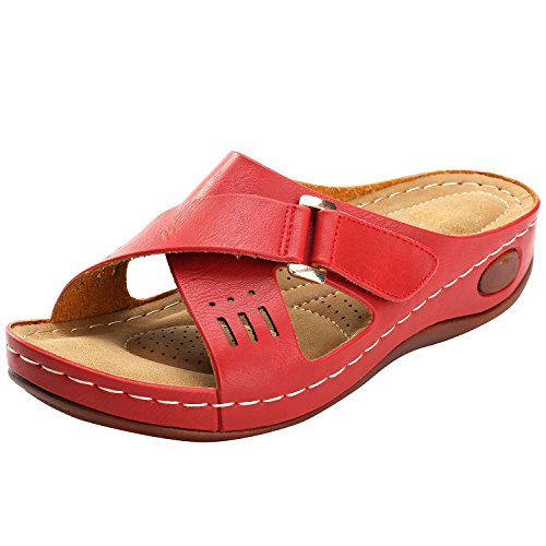 Leroy Sandals Red Buckle Insole Comfortable Women's Vamp Strap Alexis Wedge qdCFwAq