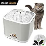 Flightbird 1.5m Radar Sensing Pet Water Fountain, [2018 Newest] 3 Working Modes,2L Auto Super Silent Drinking Water Dispenser Feeder Bowl with LED Light & 3 Replacement Filters for Cat Dog Bird