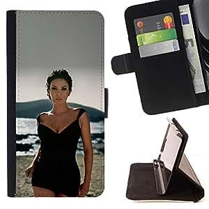 KingStore / Leather Etui en cuir / Samsung Galaxy S4 Mini i9190 / Sexy Lady