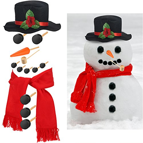 Pangda 14 Pieces Large Size Snowman Decorating Dressing Kit Snowman Making Building Set for Outdoor Fun Winter Party Holiday Craft Gift