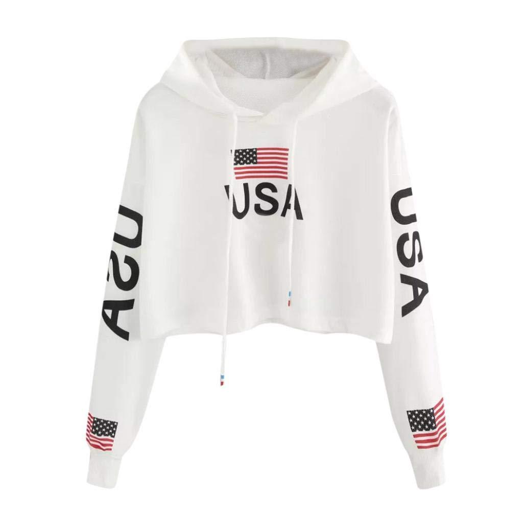 Spbamboo Women Casual Autumn American Flag Print Hoodie Sweatshirt Top Blouse
