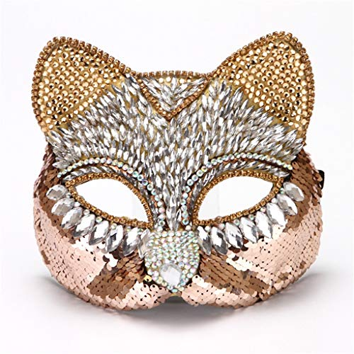 JGBHPNYX Exquisite Diamond Cat Face Mask High-End Half Face Mask ()