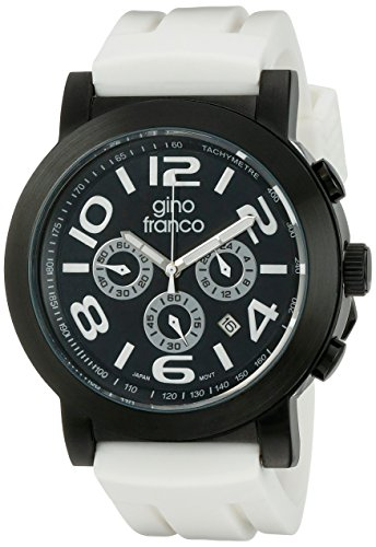 gino franco Men's 9620WT Round Multi-Function Stainless Steel PVD Plated Case Rubber Strap Watch