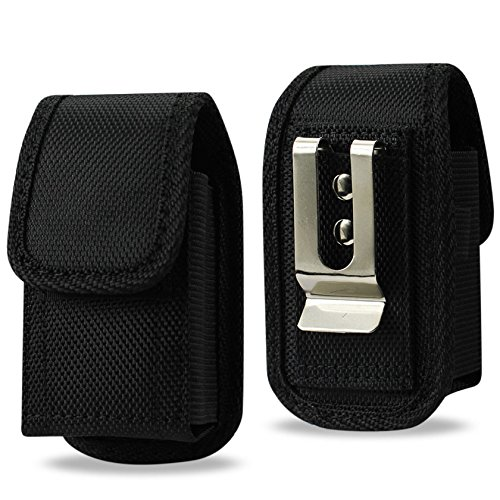 Reiko Vertical Canvas Case, Small Rugged Pouch Holster Nylon Metal Clip Flip Phone Belt Case Fits MOST FLIP PHONES (Black) (Phone Cell Flip)